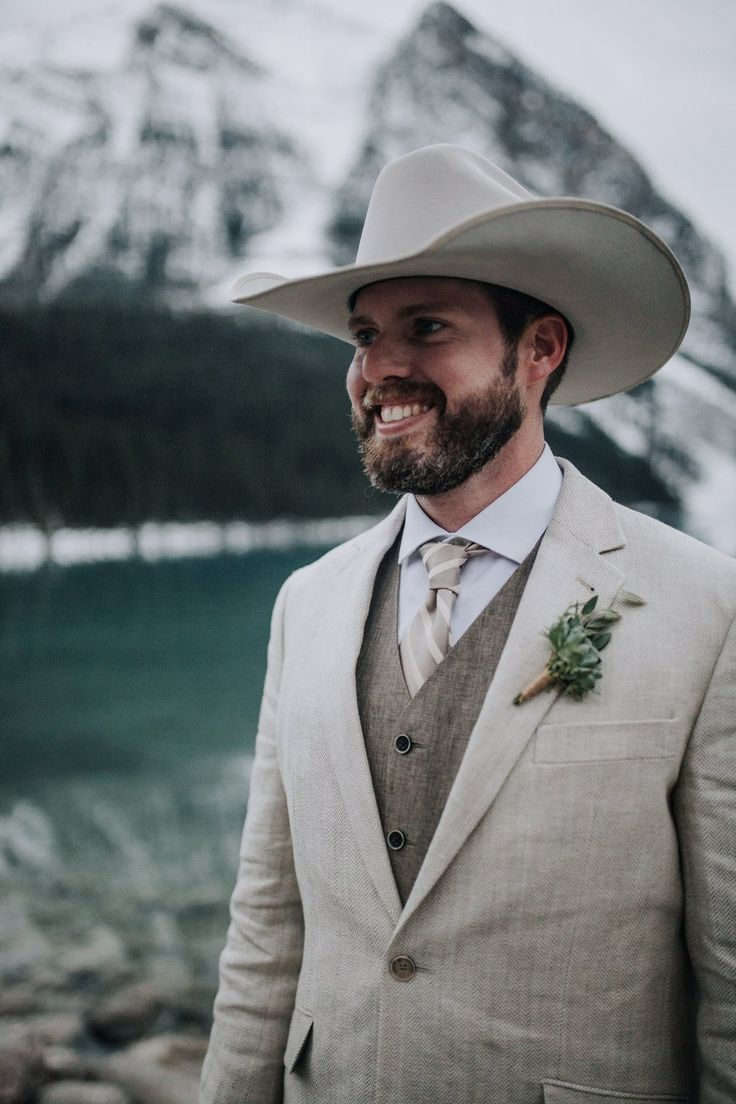Grooms Attire  Winter Wedding Inspiration  Cowboy Wedding Inspiration  Winter Destination