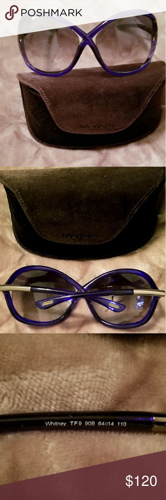 TOM FORD WHITNEY SUNGLASSES ( Authentic) Royal blue Tom Ford sunglasses. Great condition.  Case included. Tom Ford Accessories Glasses