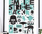 Affiche Star Wars Empire Strieks Back, affiche de film, affiche de cinéma, Darth Vader, pépinière de Star Wars, imprimer art pour enfants, impression de Geek, art de nerd