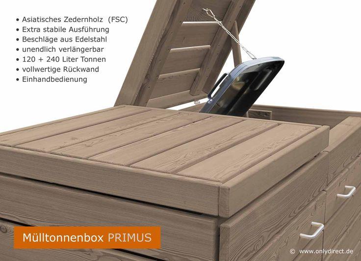 Extra stabil und besonders schön - Mülltonnenbox PRIMUS im modernem Cubus Design - FSC Zedernholz - braun gebeizt.