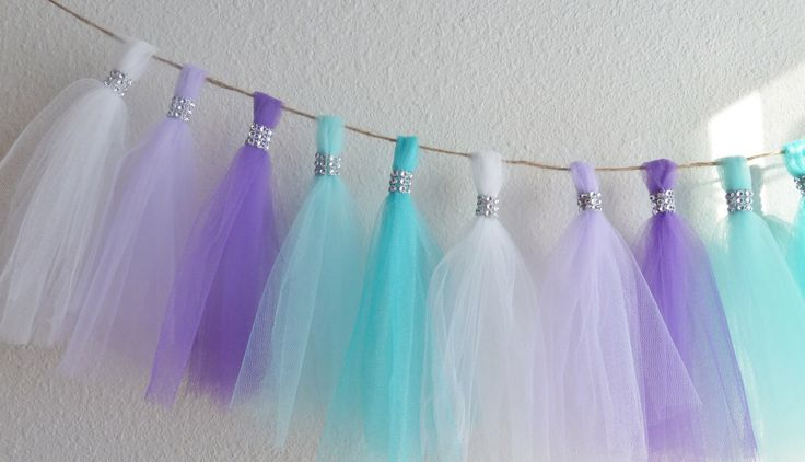 frozen aqua teal lavender purple tulle tassel garland bling mermaid birthday party wedding baby shower 1st birthday nursery decor ORIGINAL! by aprincesspractically on Etsy https://www.etsy.com/listing/178919468/frozen-aqua-teal-lavender-purple-tulle
