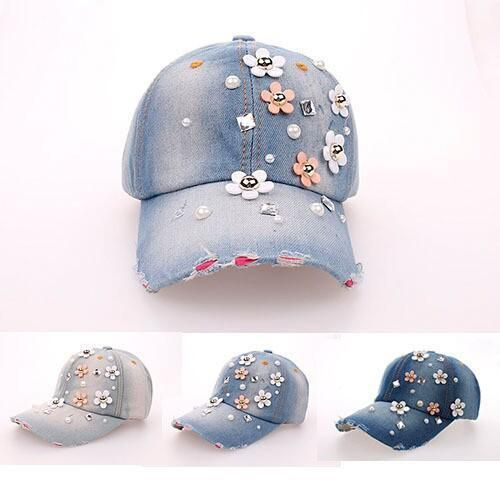 [Visit to Buy] 2015 hat sales cowboy rhinestone hat Floral point drill denim bone baseball cap snapback hats for women cheap fashion sale caps #Advertisement