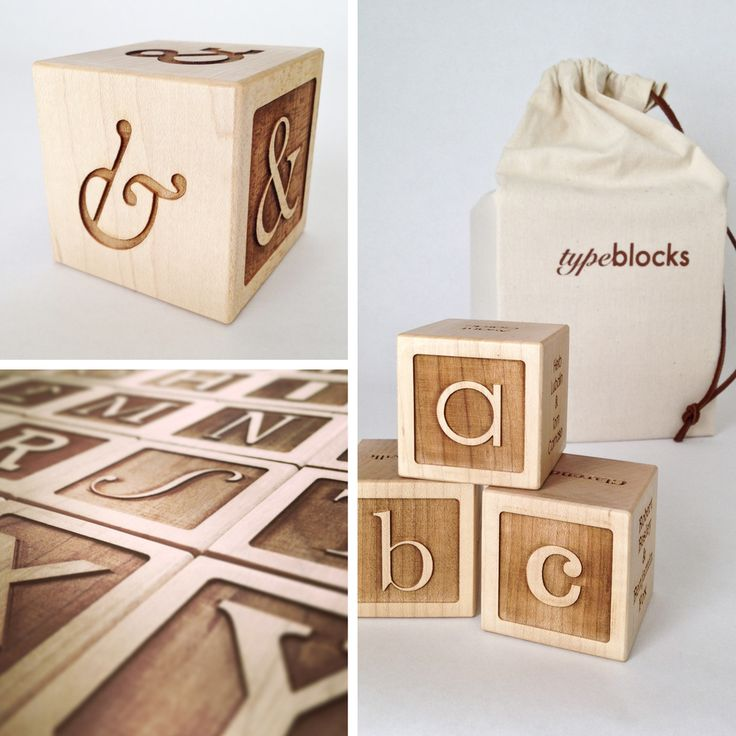 """Typeblocks is a study in typography from the perspective of children's alphabet blocks. Each block presents a different typeface whose name begins with the letter of that block (ex. """"A"""" is for Avant Garde) and includes a large upper and lowercase specimen, typeface name, designer(s), date, and classification.• 2"""" maple blocks• natural beeswax finish• 26 alphabet blocks• 1 bonus ampersand block• medium weight cotton carrying bag w/ leather cord..."""