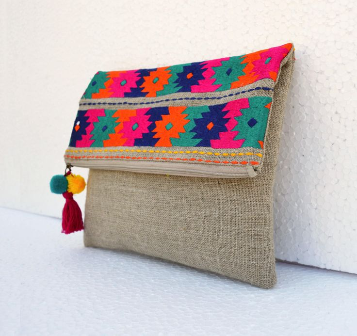 Boho pouch, linen bag, kilim pattern, moroccan, foldover clutch, embroidered, 10X8 inches by VLiving on Etsy