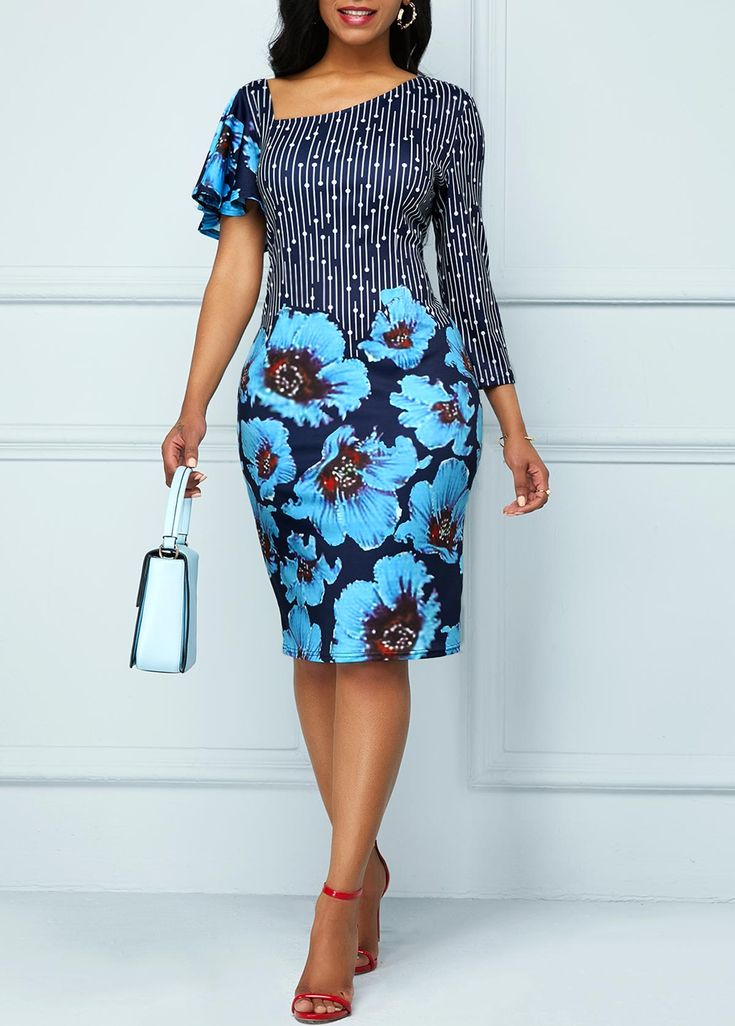 Large Floral Print Butterfly Sleeve Bodycon Dress | liligal.com - USD $30.52   #... 2