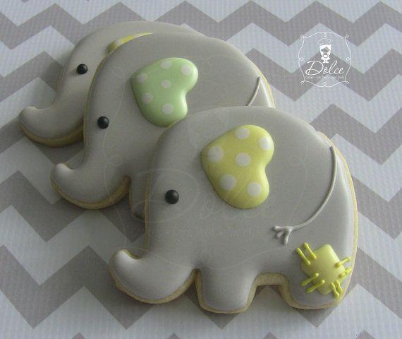 One Dozen (12) Baby Elephant Decorated Sugar Cookies on Etsy, $36.00