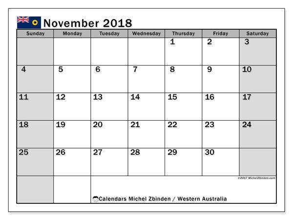 November 2018 Calendar Australia Calendar Printables June