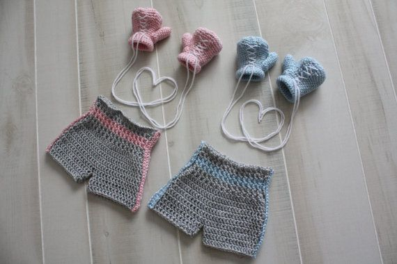 Knitting Pattern Boxing Gloves : Newborn Boxing Gloves and Shorts Crochet Crochet & Knit Projects by Bri...