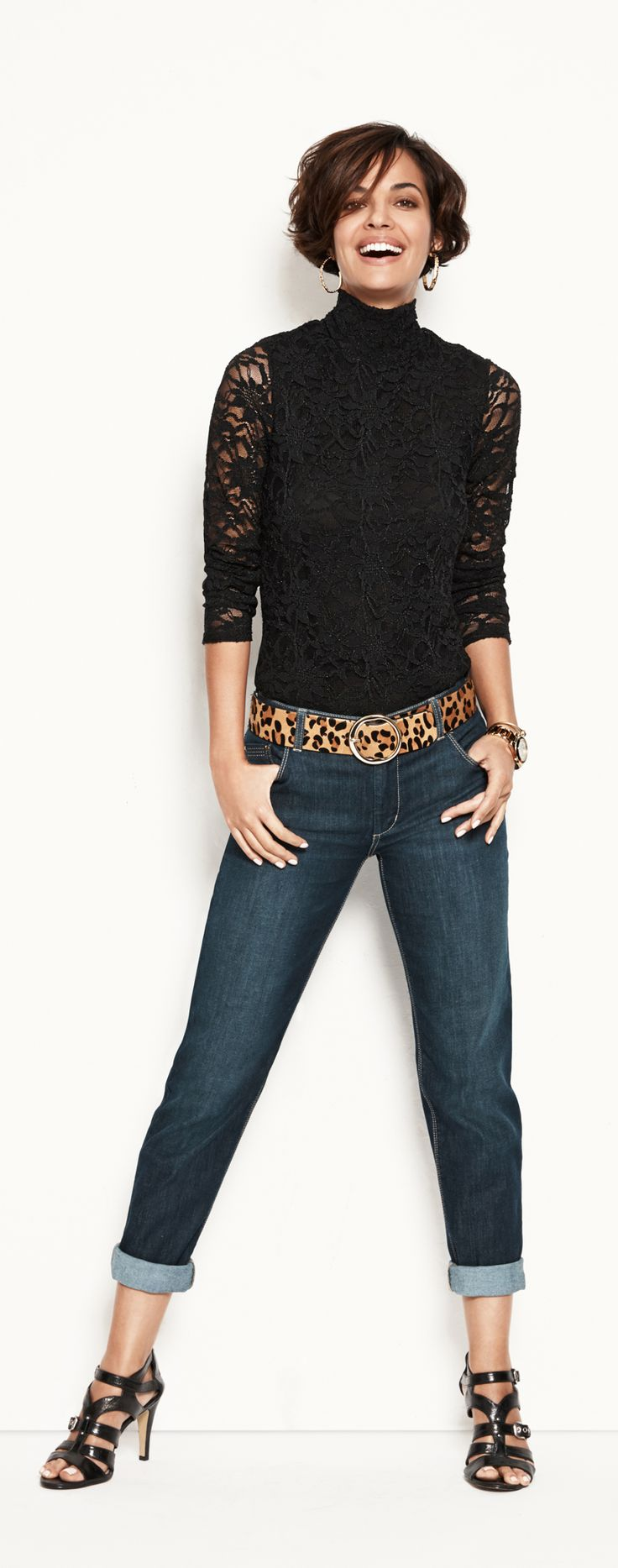Lace Turtleneck.   Wear it now, with boyfriend jeans and a little leopard. #chicossweeps~ fantastic look!