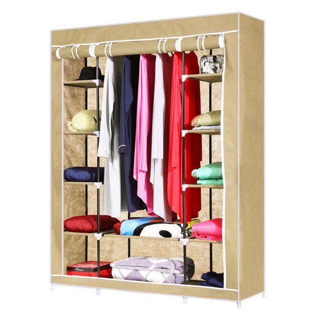 Fabric Wardrobe/Shelving Combination with Double Folding Doors
