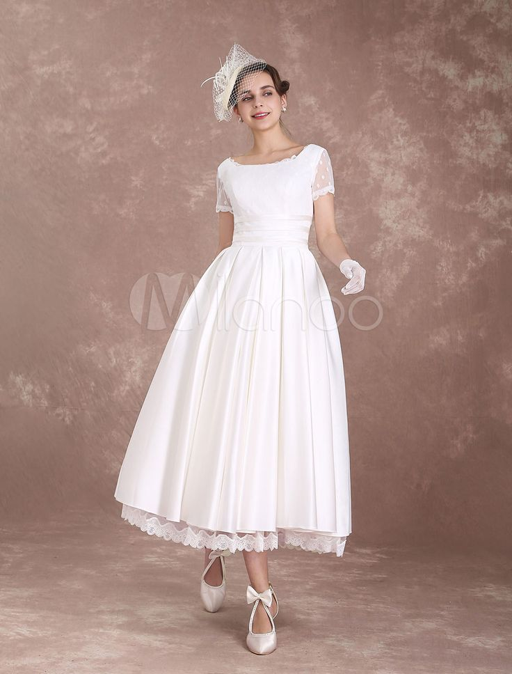 Vintage Wedding Dress Short Sleeve 1950's Bridal Dress Backless Polka Dot Lace Trim Ivory Wedding Reception Dress Milanoo