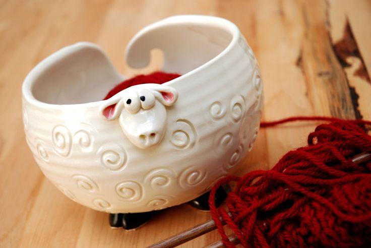 White Fluffy Sheep Shaped Ceramic Yarn Bowl