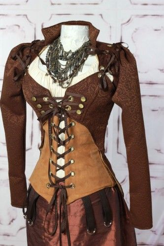 Steampunk jacket and corset set by Damsel in This Dress.