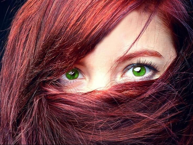 red hair, green eyes