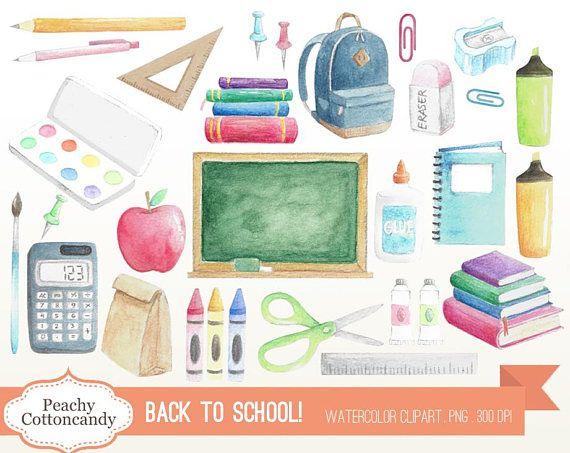 Buy 3 Get 30 Off Watercolor Back To School Clip Art Etsy Back To School Clipart Clip Art School Clipart