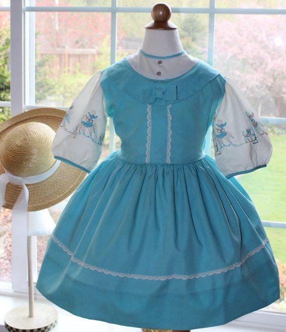VTG 1950s Poodle Embroidered Flared Aqua Dress