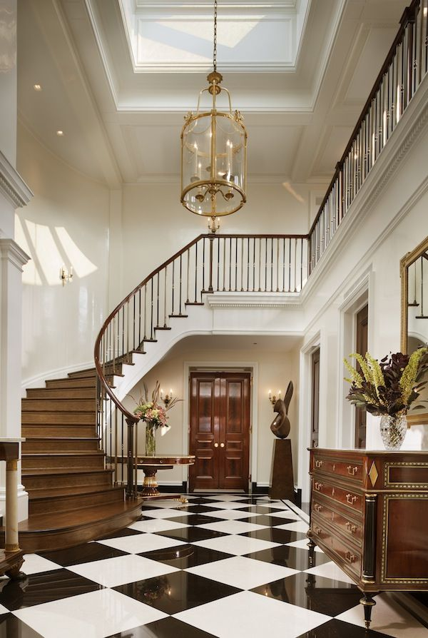 John B Murray Designed Entry Hall With Black And White Tile