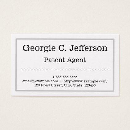 #plain - #Clean and Plain Patent Agent Business Card