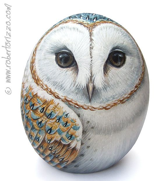 Original Hand Painted Barn Owl Rock by RobertoRizzoArt on Etsy