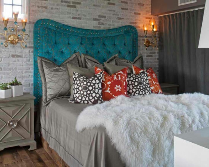 Tufted Teal Headboard, Eclectic