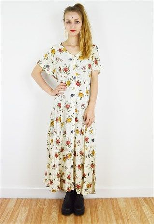 Slouchy+90's+Floral+Midi+Dress+