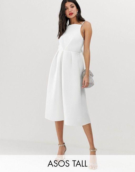 98055555079 DESIGN Tall bow back midi prom dress in 2019