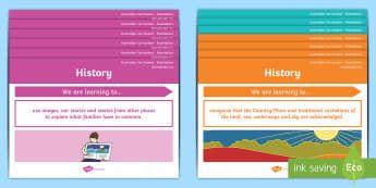 Foundation Australian Curriculum History Content Descriptors Display Pack - Australian HASS Content Descriptor Statements, inquiry skills, knowledge and understanding, Foundati