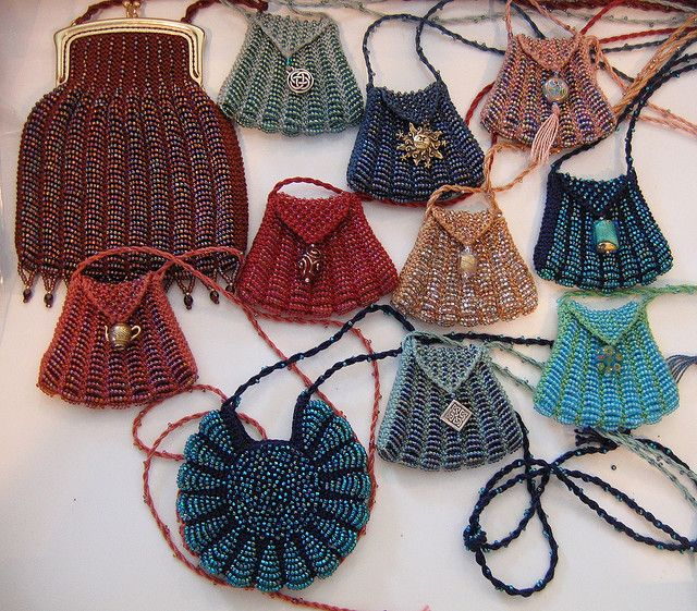 "Beaded Amulet Bags; free pattern for smaller size. * * * DMC Perlé Coton, Size 8, Size 11 seed beads, Size 000 or 0000 steel knit needles or 24"" circular"