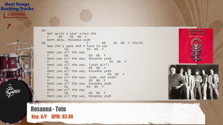 Rosanna - Toto Drums Backing Track with chords and lyrics
