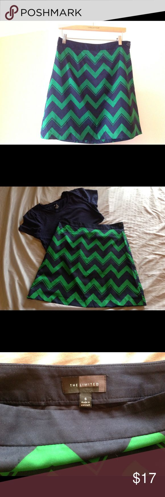 "The Limited Chevron skirt 100% polyester skirt with lining. Comfortable for summer wear with sandals and a tee. Perfect for the office or after hours. 19"" in length. The Limited Skirts"
