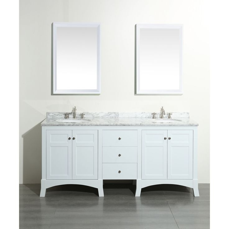 Eviva New York White Marble Carrera Counter Top And Sink White 72 Inch  Bathroom