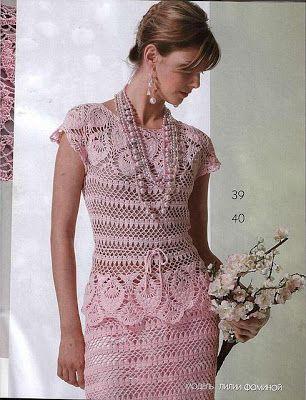 Artes em tecidos: Vestido rosa em crochê.
