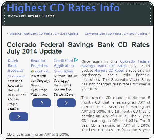 The Banker: Colorado Federal Savings Bank CD Rates July 2014 U...