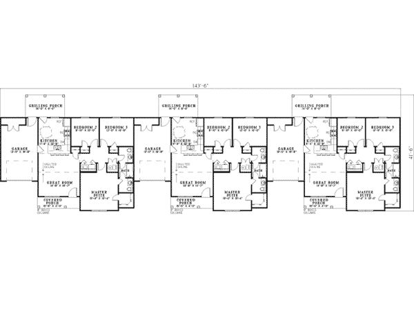 Arnette ranch triplex ranch for Triplex floor plans
