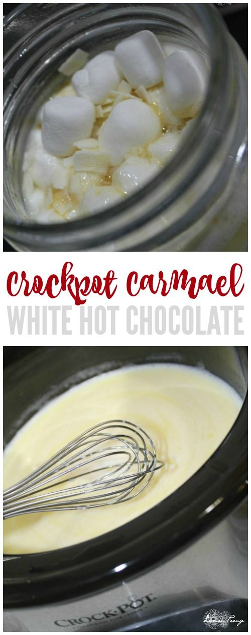 Crockpot Caramel White Hot Chocolate Recipe! Easy Hot Cocoa Recipe for a twist on traditional Hot Chocolate!