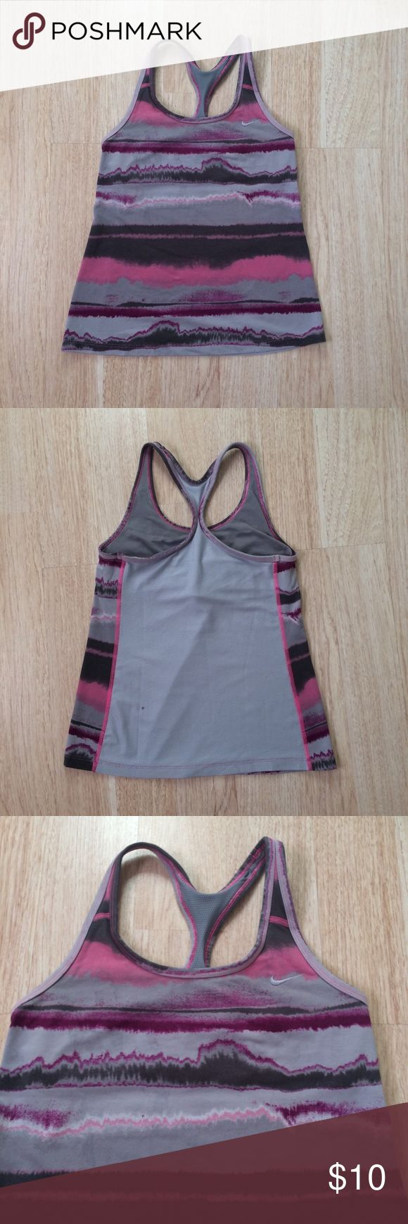 Nike Dri Fit Workout Tank Top From Nike size medium purple and gray Print Workout Sports Tank Top in great condition has bra underneath, Mesh detail in the back very cute bundle if interested   Tags Brandy Melville urban outfitters free people forever 21 H&M Lululemon pink Victoria's Secret Nike Tops Tank Tops