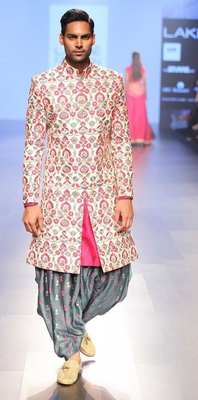 off white and pink sherwani, pink and grey embroidery, grey and pink pathani salwar