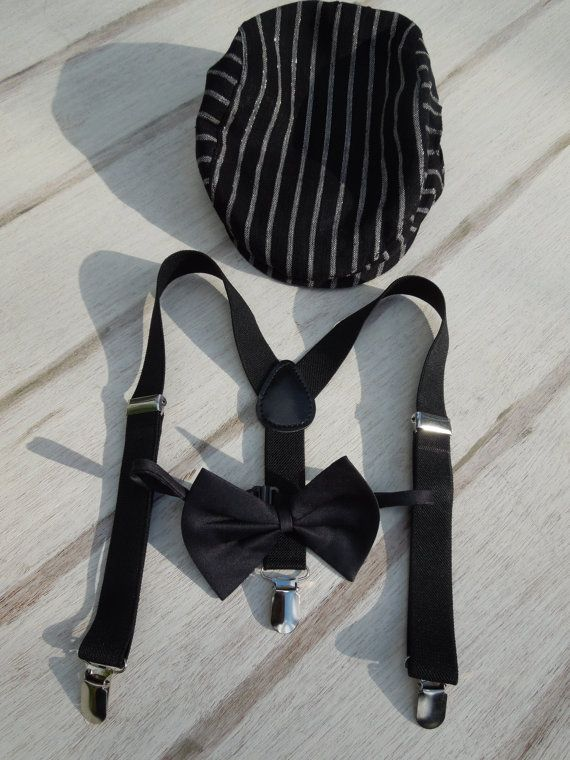 Boys Black Tie Set Suspenders-Bow Tie-Page by whistlebritches15