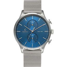 OBAKU Gran - cyan // blue and stainless steel men's multifunction watch
