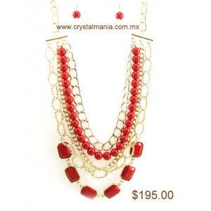 Set de collar y aretes dorados en forma de cadena con detalles en tono rojo estilo 30186