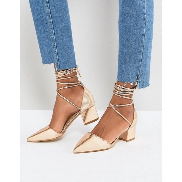RAID Lucky Rose Gold Ankle Tie Block Heeled Shoes ($47) ❤ liked on Polyvore featuring shoes, gold, block heel shoes, laced up flats, pointed toe flats, rose gold shoes and rose gold flat shoes
