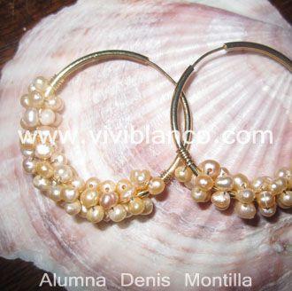 Candongas / Argollas tejidas con perlas cultivadas. Curso de Joyería de ViviBlanco.