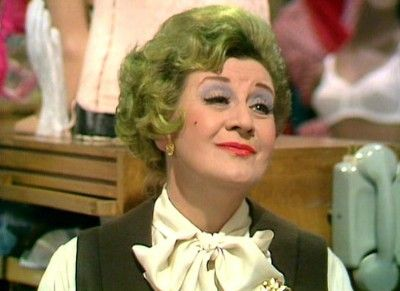 """""""Have you seen my pussy?"""" Mrs. Slocum in Are You Being Served? (Portrayed by Mollie Sugden {1922-2009}.)"""