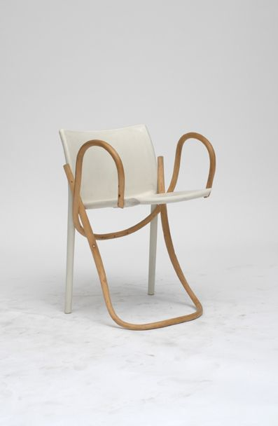 Martino Gamper - A 100 Chairs in 100 Days . Ch'Air No 9 Chair  19 July 2006  A chair that joins Jasper Morrison's Air Chair with a bentwood Thonet chair No 9.