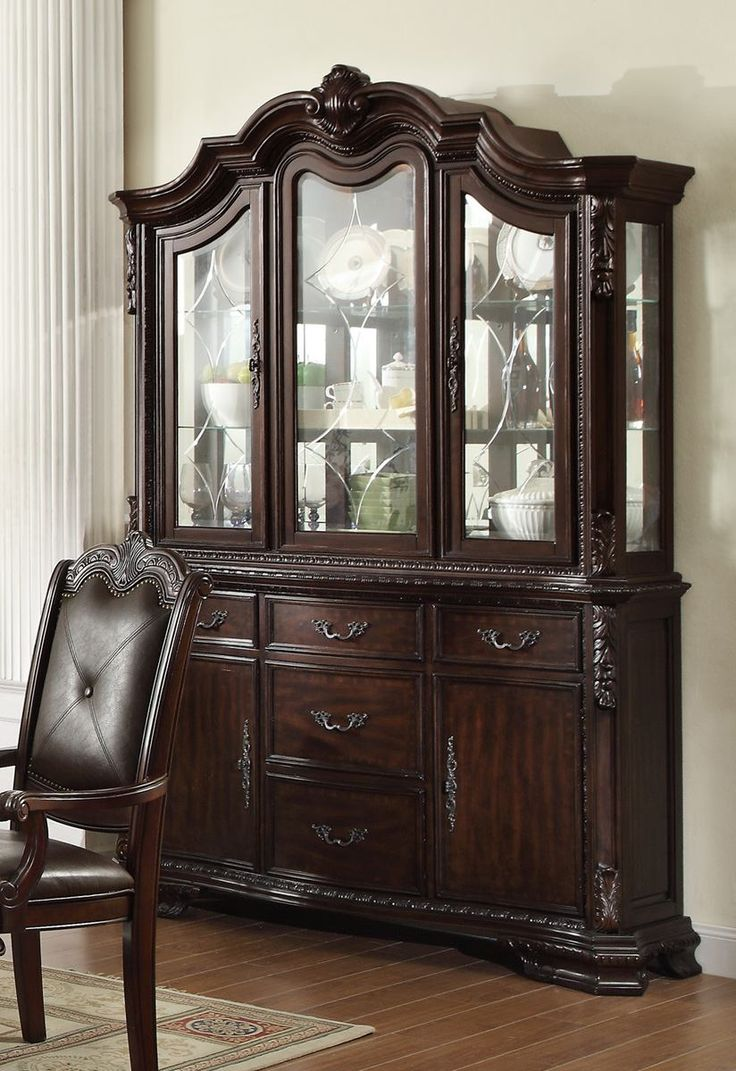 china cabinets and hutches | Crown Mark Kiera Buffet with Hutch in Rich Brown 2150BH by Dining ...
