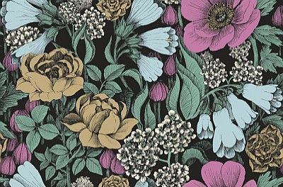 Oodi+Blue+(17922)+-+Marimekko+Wallpapers+-+A+bold+and+beautiful+floral+design+with+large+scale+flowers.++Shown+here+in+the+pastel+blue,+pink+and+greens+on+a+deep+midnight+blue+background.+Paste+the+wall.+Please+request+sample+for+true+colour+match.