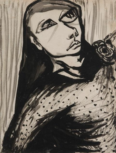 Joy Hester, Girl with Rose, c.1950.  Ink on cardboard.  Source: Bundanon Trust.