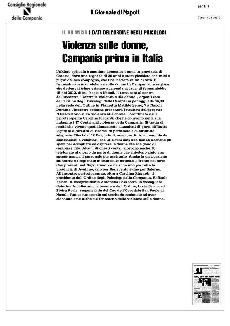 femminicidio: primato in campania