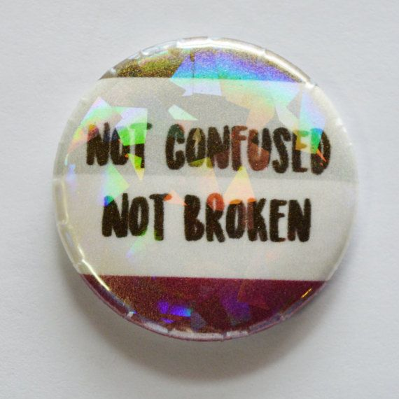+ 1.5 inch in diameter + Custom Designed + Professionally printed + Made with professional button maker  Available on glitter & regular paper, with or without prism finish. Be sure youve checked the options you want.  Asexuality can be confusing to some, but not to you! Let everyone know that you know who you are with this fun button.  This button has a metal pin backing, making it perfect for pinning to clothes, bags or jackets