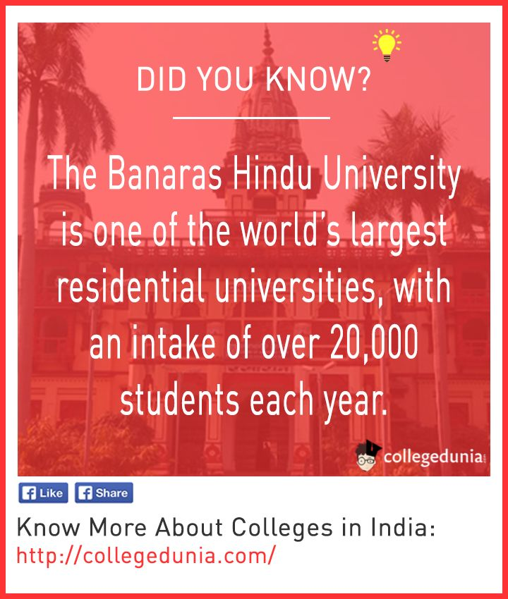 Did you know facts, Banaras Hindu Univerisity is one of the largest universities with an intake of over 20,000 students each year.